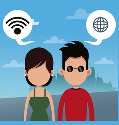 Couple wifi connection social media urban vector