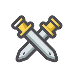 crossed golden swords icon cartoon vector image