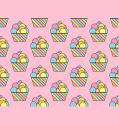 cupcake seamless pattern colorful cake vector image