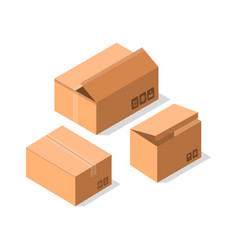 Delivery cardboard boxes icon set vector