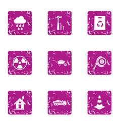 eco construction icons set grunge style vector image