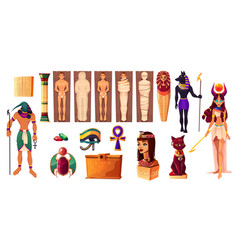 egyptian gods thoth and hathor ancient attributes vector image