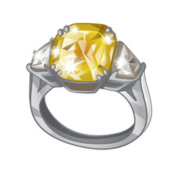 exclusive ring made of platinum with inlaid yellow vector image