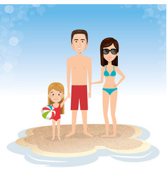 family in the beach summer vacations vector image