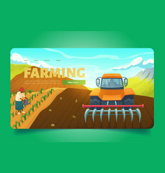 Farming banner with tractor with plow on field vector