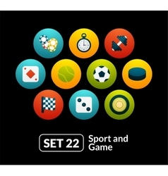 Flat icons set 22 - sport and game collection vector