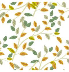 flying green leaves on white background fresh vector image