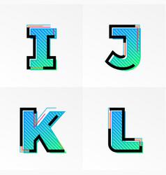 font alphabet set letters i j k l gradient color vector image