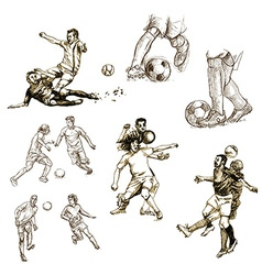 Football set collection of soccer players vector