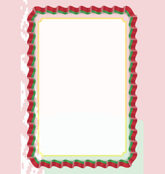 frame and border of ribbon with belarus flag vector image