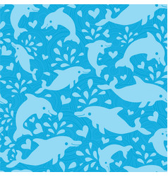 Fun blue dolphins seamless pattern background vector