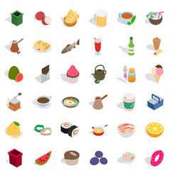 Gastronomy icons set isometric style vector