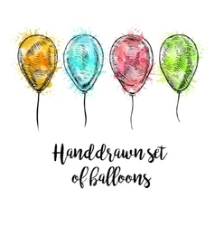 Hand drawn set of balloons with watercolor spots vector image