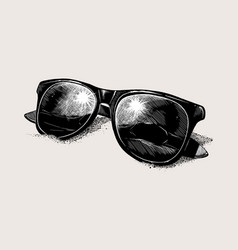 hand-drawn sketch sunglasses on sand isolated vector image