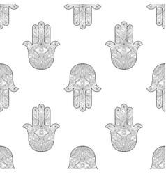 hand of fatima seamless pattern vector image