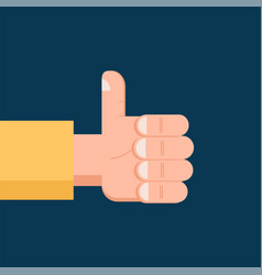 hand thumb up flat icon isolated symbol vector image