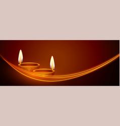 Happy diwali banner with glowing light streak vector