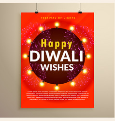 Happy diwali wishes greeting flyer template design vector