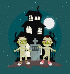 Happy halloween scary night cartoon vector