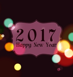 Happy New Year 2017 on Night Lights Background vector image