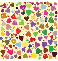 Hearts diferent colors round background template vector