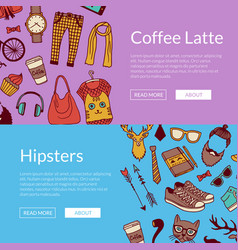 hipster doodle icons horizontal banners vector image