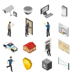 Home Security Service Isometric Icons Set vector image