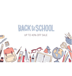 Horizontal banner template for back to school vector