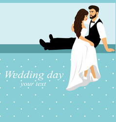 Invitation card with the bride and groom in vector