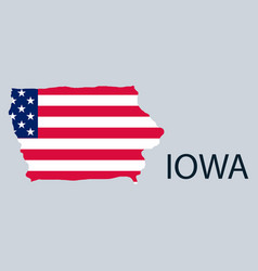 Iowa state of america with map flag print on map vector