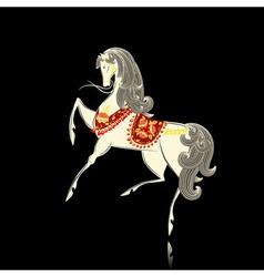 Khokhloma pattern horse vector image
