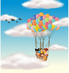kids flying in basket vector image vector image