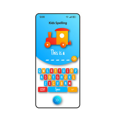 Kids spelling game smartphone interface template vector