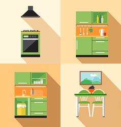 Kitchen home decoration set flat style Digital ima vector image