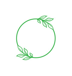 leaf in circle icon design template vector image