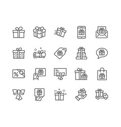 Line gifts icons vector