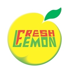 Logo fresh lemon white background vector