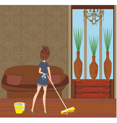 maid cleans room vector image