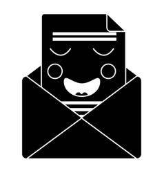 mail envelope kawaii character smiling vector image