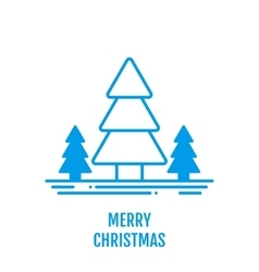 Merry Christmas concept with trees in outline vector image