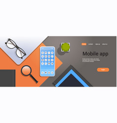 mobile application icons smartphone screen top vector image