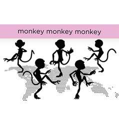 monkey silhouette in various poses vector image