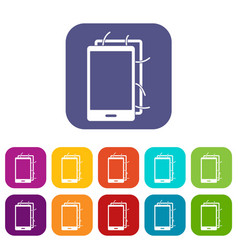 Opened phone icons set flat vector