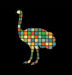 ostrich bird color silhouette animal vector image