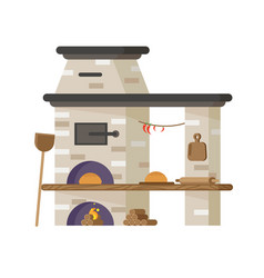 Oven for baking bread or pizza vector