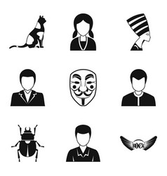 Persona icons set simple style vector