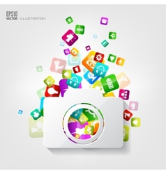 Photocamera icon Application buttonSocial media vector image