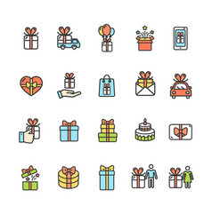 present gift signs color thin line icon set vector image