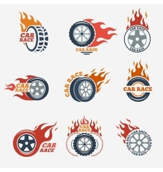 Racing flat labels vector