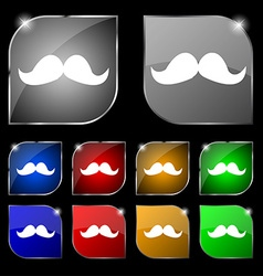 Retro moustache icon sign Set of ten colorful vector